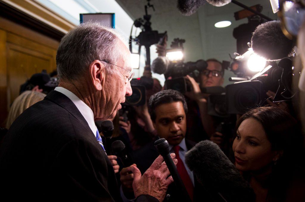 Judiciary chairman Sen. Chuck Grassley, R-Iowa, speaks with reporters as he leaves the Senate Judiciary Committee hearing room on Wednesday, May 10, 2017. Photo By Bill Clark/CQ Roll Call.