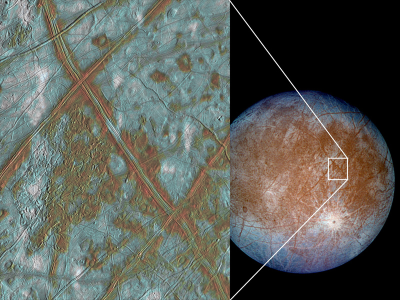 Fractures and lines in Europa's icy surface, one of the first pieces of evidence for the existence of the moon's ocean hidden beneath. Photo by NASA/JPL-Caltech/SETI Institute