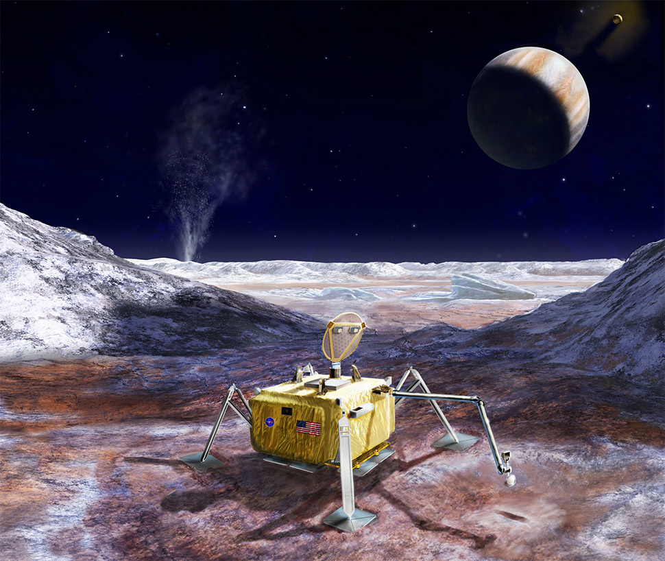 Artist concept of a possible future landing mission to the surface of Jupiter's ocean-bearing moon, Europa. Photo by NASA