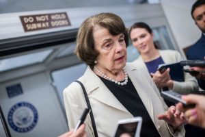 UNITED STATES - MAY 10: Sen. Dianne Feinstein, D-Calif., is interviewed in the senate subway of the Capitol after a meeting of Senate Democrats on May 10, 2017. (Photo By Tom Williams/CQ Roll Call)