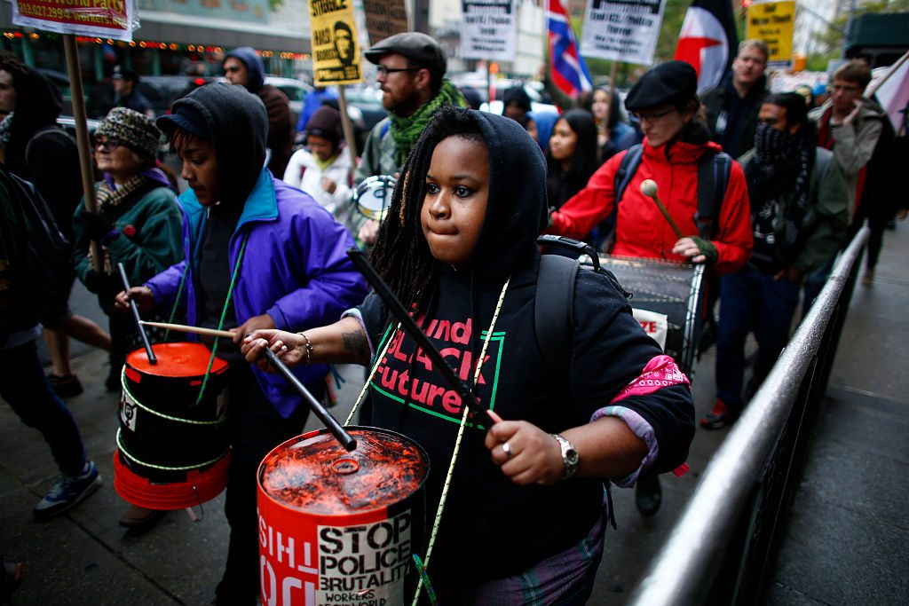 People take part during the May Day demonstration May 1 in Washington Square Park in New York. Thousands are expected to take part in May Day rallies across the country to support workers rights. Photo by KENA BETANCUR/AFP/Getty Images.