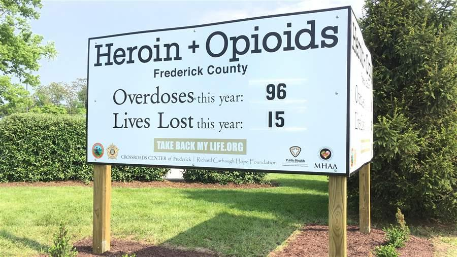 A billboard in Frederick, Maryland, displays the number of opioid overdoses and deaths in 2017. As the deadly illicit opioid fentanyl spreads, state and local governments are accelerating their public health and law enforcement responses. Photo by The Pew Charitable Trusts