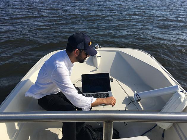 Surya Mattu identifies Mar-a-Lago's Wi-Fi networks (Jeff Larson/ProPublica)