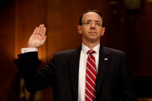 FILE PHOTO - Rod Rosenstein, nominee to be Deputy Attorney General, takes the oath before the Senate Judiciary Committee on Capitol Hill in Washington, DC, U.S. on March 7, 2017. REUTERS/Aaron P. Bernstein/File Photo - RTX36AXL