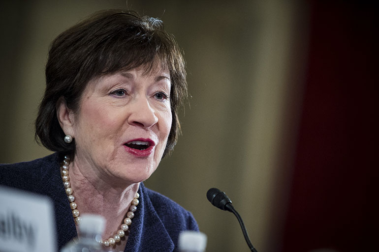 "Senator Susan Collins, a Republican from Maine, introduces Senator Jeff Sessions, a Republican from Alabama, not pictured, at the start of the Senate Judiciary Committee in Washington, D.C., U.S., on Tuesday, Jan. 10, 2017. Sessions will warn at his confirmation hearing Tuesday of a ""dangerous trend"" in violent crime and vow to better defend police while tackling accusations that he'll gut civil rights, as he seeks to become President-elect Donald Trump's attorney general. Photographer: Pete Marovich/Bloomberg via Getty Images"