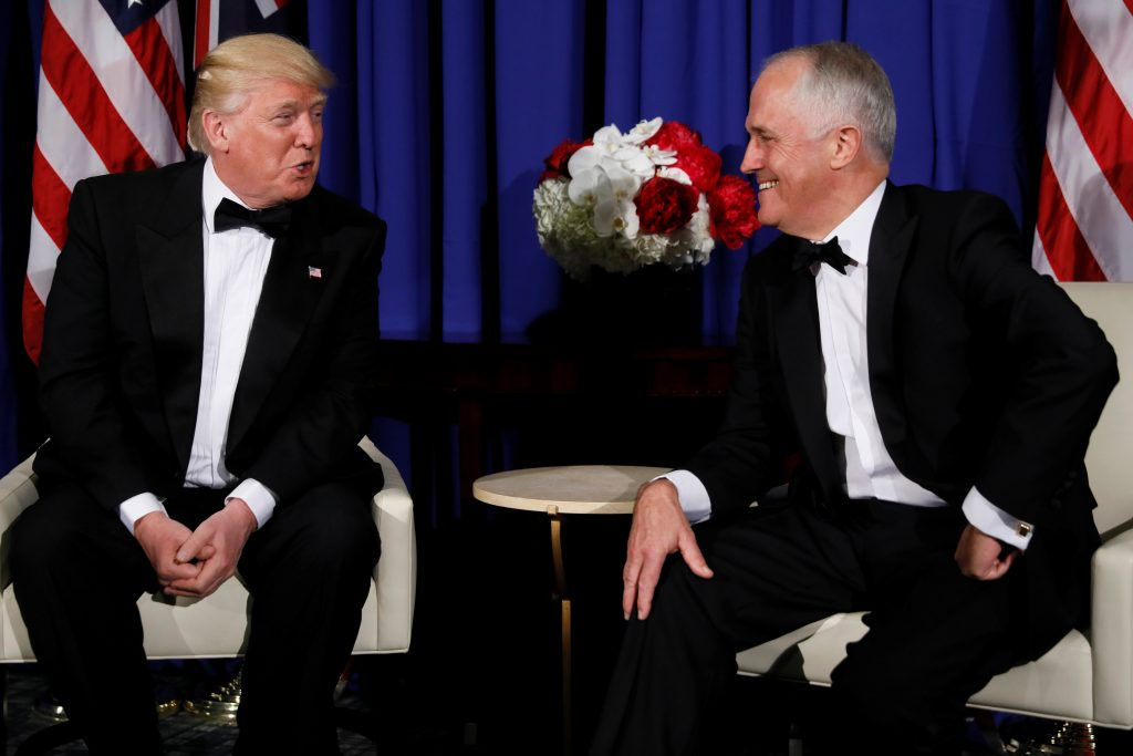 President Donald Trump (left) and Australia's Prime Minister Malcolm Turnbull (right) deliver brief remarks to reporters as they meet ahead of an event commemorating the 75th anniversary of the Battle of the Coral Sea, aboard the USS Intrepid Sea, Air and Space Museum in New York, U.S. May 4, 2017. REUTERS/Jonathan Ernst