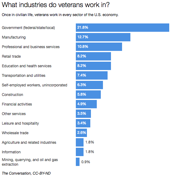 What industries do veterans work in?