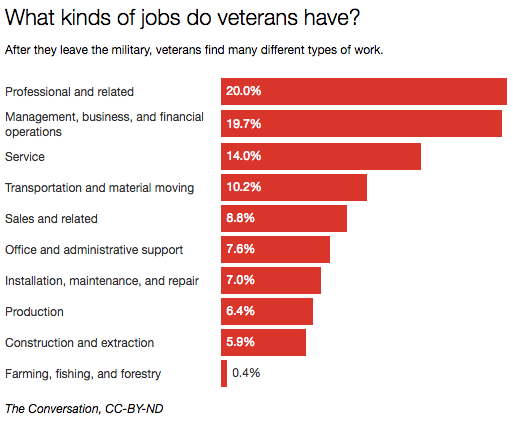What kinds of jobs do veterans have?
