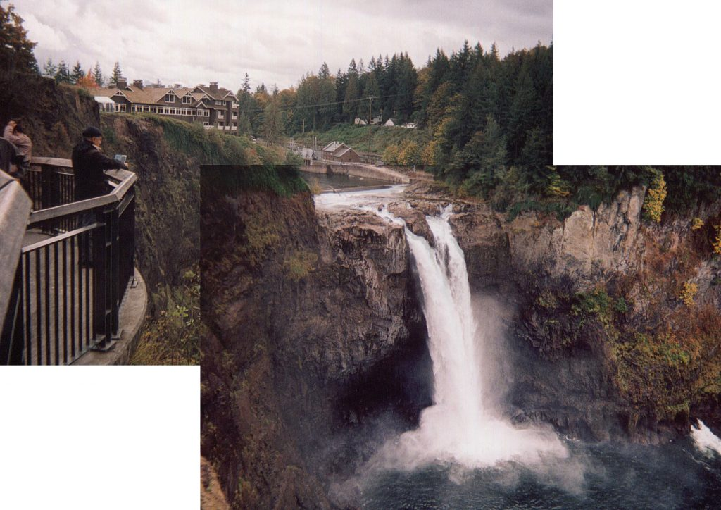 "Photos of the iconic Snoqualmie Falls in Washington state, as seen in the ""Twin Peaks"" opening credits."