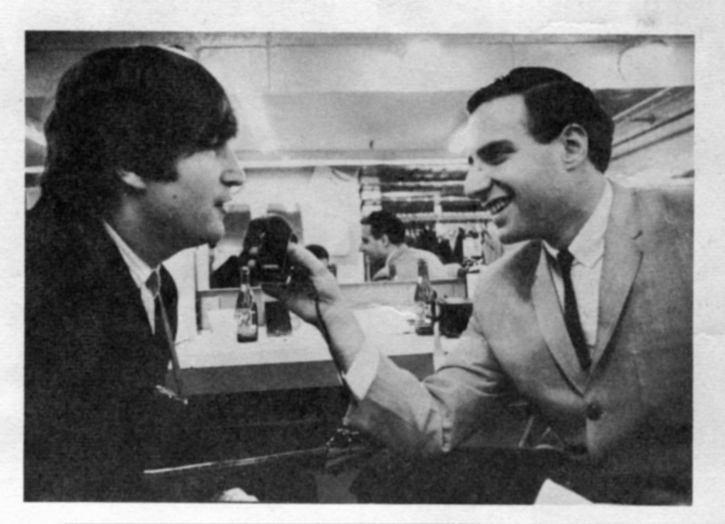 Kane interviews Beatles' guitarist/singer-songwriter John Lennon on the band's first American tour. Photo courtesy of Larry Kane