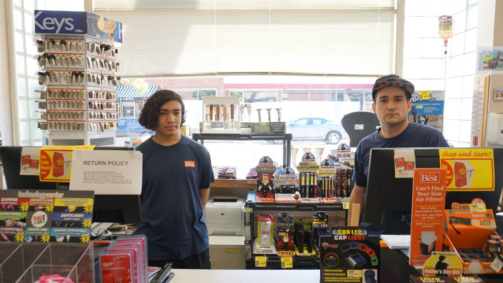 Jared and Jaden Hageman at the hardware store where they work in downtown Bowling Green. Photo by Alison Thoet