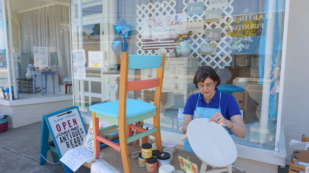 Wright outside her antique store in downtown Bowling Green. Photo by Alison Thoet