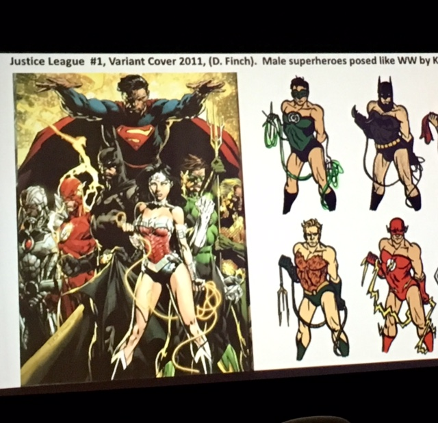 "Photo from slide show reads: ""Justice League #1, Variant Cover 2011, (D. Finch). Male superheroes posed like WW (Wonder Woman) Kelly Turnbull, 2012. Photo presented by Carolyn Cocca during the ""Who are the New Superwomen of the Universe"" event at the National Museum of Women in the Arts."