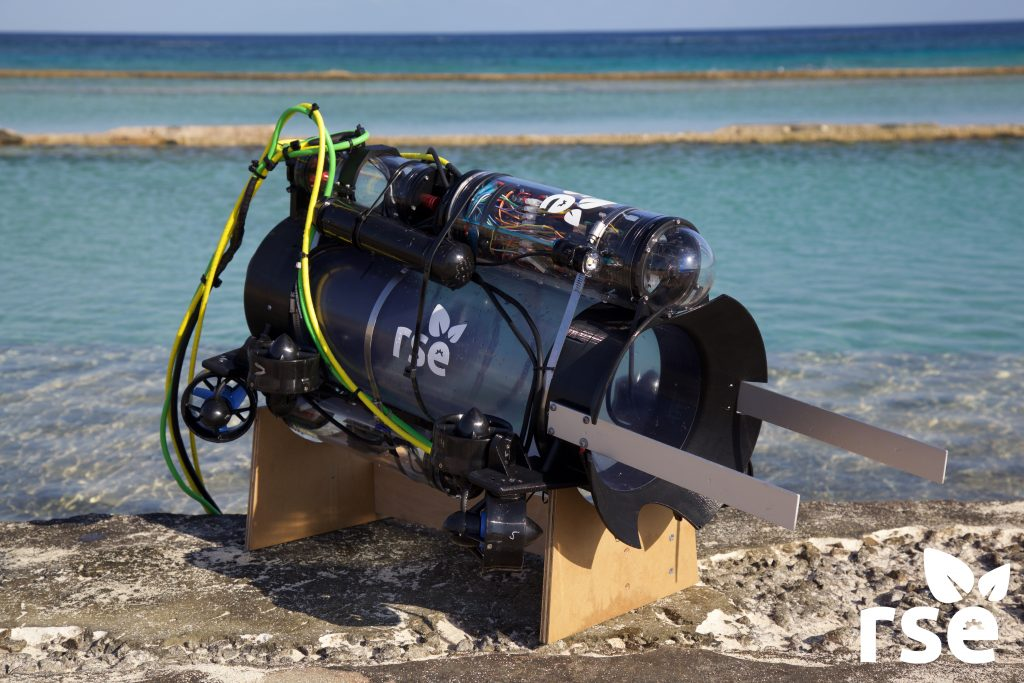 The Guardian LF1, a prototype robot that stuns and collects invasive lionfish. Photo by Robots in Service of the Environment