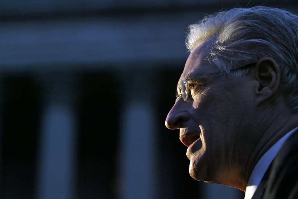 Defense attorney Marc Kasowitz speaks to reporters in New York in 2005. Photo by Keith Bedford/Reuters