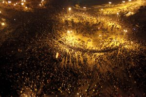 A general view shows Tahrir Square as Egyptian riot policemen try to disperse protesters in Cairo
