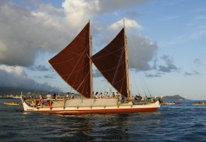 Hokule'a, a traditional Hawaiian voyaging canoe that navigates primarily by using stars, departs on 4-year worldwide voyage from Honolulu