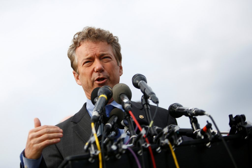 Sen. Rand Paul (R-Ky.) and other members of the House Freedom Caucus hold a news conference on Capitol Hill in Washington, D.C. Photo by Eric Thayer/Reuters