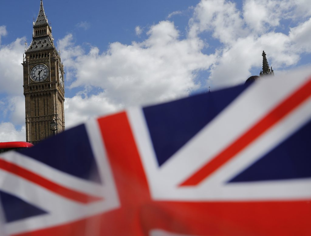 A union flag is seen near the Houses of Parliament in London. Photo by Stefan Wermuth/Reuters