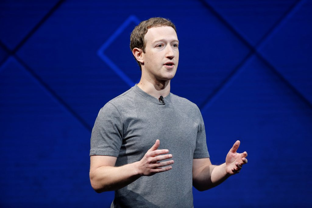 Facebook Founder and CEO Mark Zuckerberg speaks on stage during the annual Facebook F8 developers conference in San Jose, California, U.S., April 18, 2017. Photo by Stephen Lam/Reuters