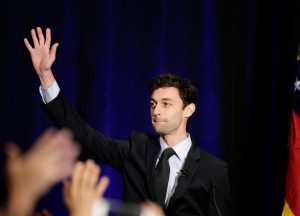 Georgia's Sixth District Congressional candidate Jon Ossoff speaks to his supports at his Election Night party in Sandy Springs, Georgia, U.S., April 18, 2017. Photo Marvin Gentry/Reuters