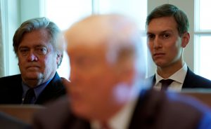 Trump advisers Steve Bannon (back L) and Jared Kushner (back R) listen as U.S. President Donald Trump meets with members of his Cabinet at the White House in Washington, D.C. Photo by Kevin Lamarque/Reuters