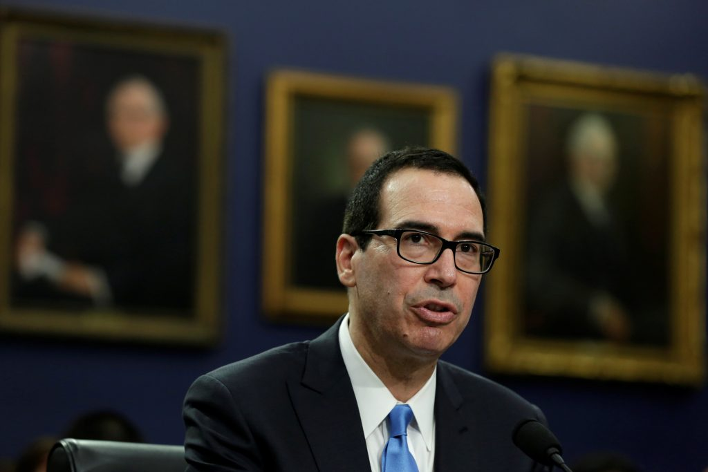 Treasury Secretary Steve Mnuchin testifies before the House Financial Services and General Government Subcommittee hearing on the Treasury Department's budget on Capitol Hill in Washington, D.C. Photo by Yuri Gripas/Reuters