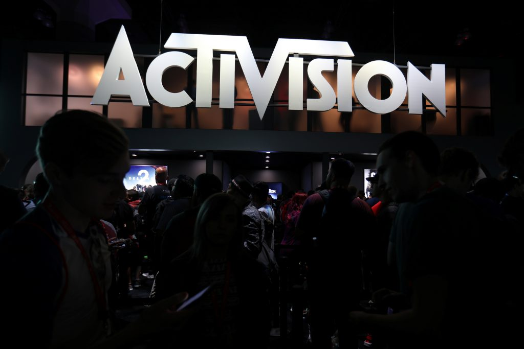 The Activision booth at the E3 2017 Electronic Entertainment Expo in Los Angeles. Activision is one of 11 companies being picketed by SAG-AFTRA since October 2016. Photo by Mike Blake/Reuters