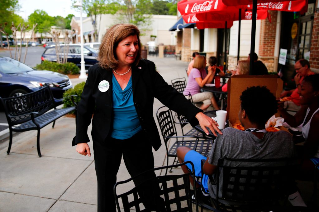 FILE PHOTO - Republican candidate Karen Handel for Georgia's 6th Congressional District special election talks to supporters during a campaign stop at Santino's Italian Restaurant & Pizzeria in Alpharetta, Georgia, U.S. on April 17, 2017.   REUTERS/Kevin D. Liles/File Photo - RTS173ET