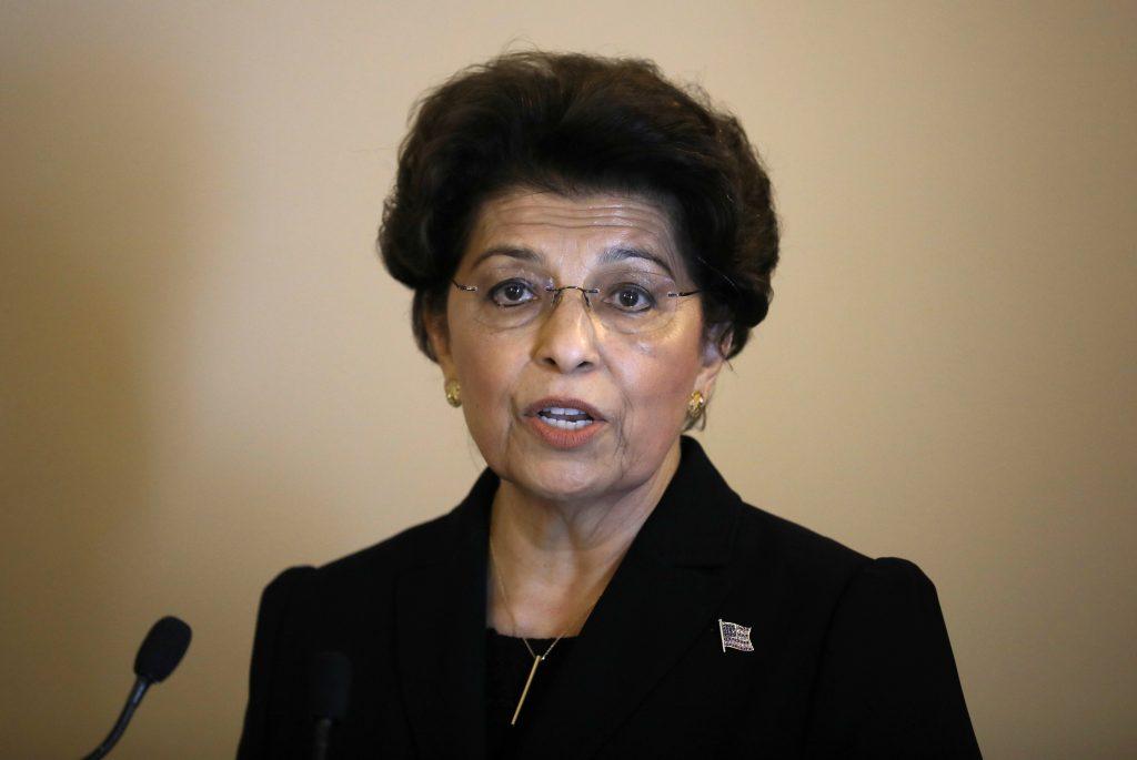 U.S. treasurer Jovita Carranza speaks during her swearing in ceremony at the Treasury Department building in Washington, U.S., June 19, 2017. REUTERS/Carlos Barria - RTS17QE7