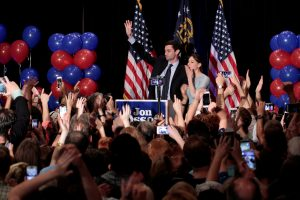 Democrat Jon Ossoff is joined by his finance, Alisha Kramer, as he addresses his supporters after his defeat in Georgia's 6th Congressional District special election in Atlanta, Georgia. Photo by Chris Aluka Berry/Reuters