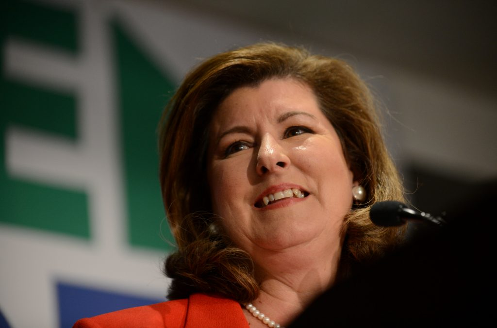 Karen Handel, Republican candidate for Georgia's 6th Congressional District, gives her acceptance speech to supporters at her election night party at the Hyatt Regency at Villa Christina in Atlanta, Georgia, U.S., June 20, 2017. REUTERS/Bita Honarvar - RTS17YE2