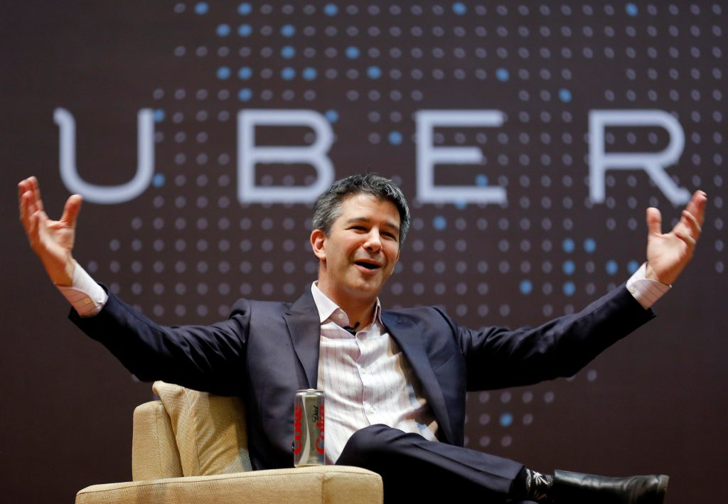 FILE PHOTO - Uber CEO Travis Kalanick speaks to students during an interaction at the Indian Institute of Technology (IIT) campus in Mumbai, India, January 19, 2016. REUTERS/Danish Siddiqui/File Photo TPX IMAGES OF THE DAY - RTS17YNW