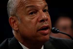 Former Secretary of Homeland Security Jeh Johnson testifies about Russian meddling in the 2016 election before the House Intelligence Committee on Capitol Hill in Washington, D.C. Photo by Aaron P. Bernstein/Reuters