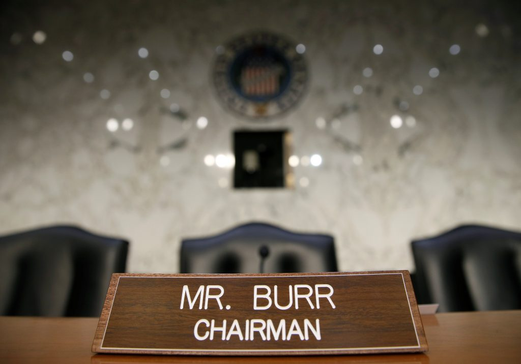 The name plate for Chairman of the Senate Intelligence Committee Richard Burr (R-NC) is shown before a hearing about Russian interference in U.S. elections in Washington