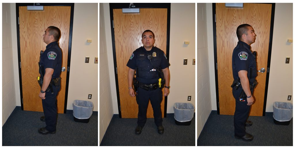 St. Anthony Police Department officer Jeronimo Yanez poses for investigation photographs after he fatally shot Philando Castile during a traffic stop in July 2016, in a combination of photos released on June 20, 2017, after a jury declared Yanez not guilty of second-degree manslaughter. Photo courtesy of Minnesota Bureau of Criminal Apprehension/Handout via Reuters