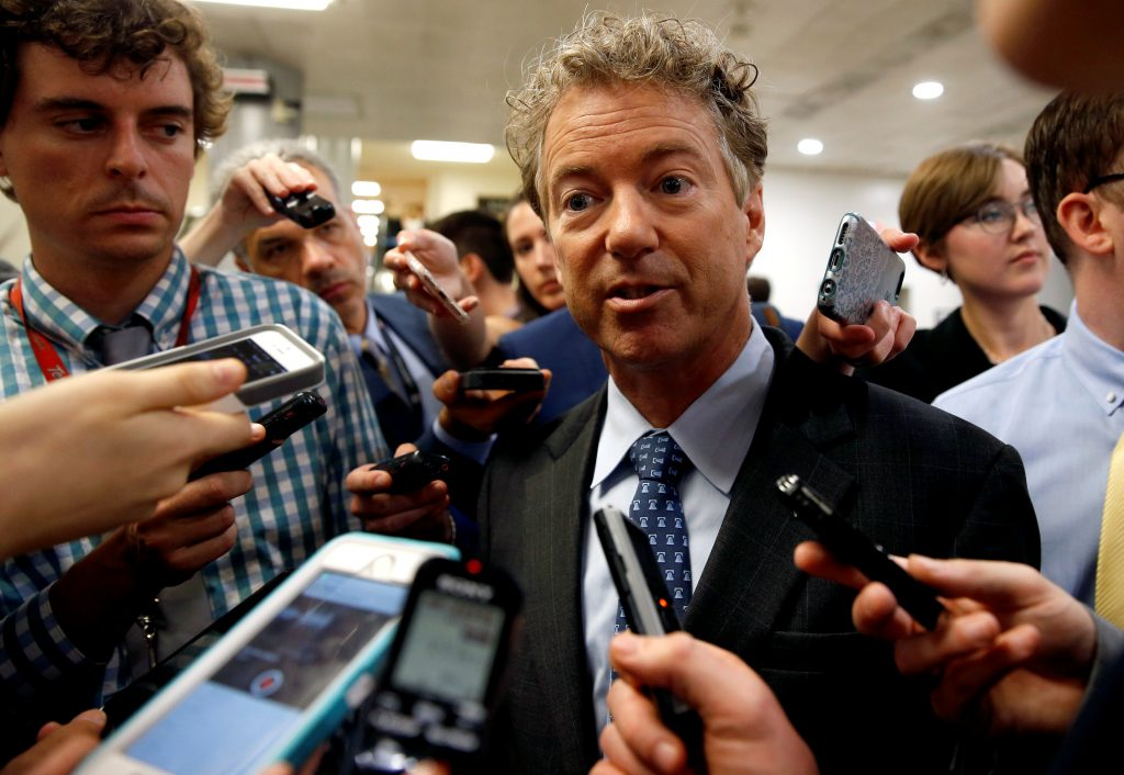 Senator Rand Paul (R-KY) speaks to reporters after Senate Republicans unveiled their version of legislation that would replace Obamacare on Capitol Hill in Washington, U.S., June 22, 2017. REUTERS/Joshua Roberts - RTS189E3