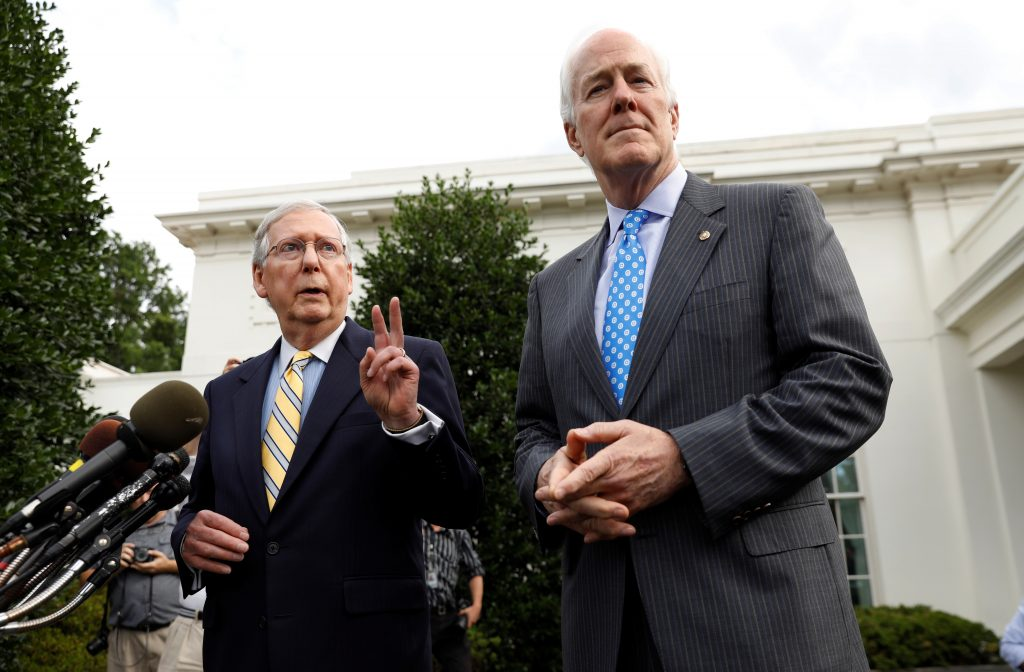 Senate Majority Leader Mitch McConnell (L) and Senate Majority Whip John Cornyn (R) speak to reporters at the White House following meeting with President Donald Trump and Senate Republicans on healthcare in Washington, D.C. Photo by Kevin Lamarque/Reuters