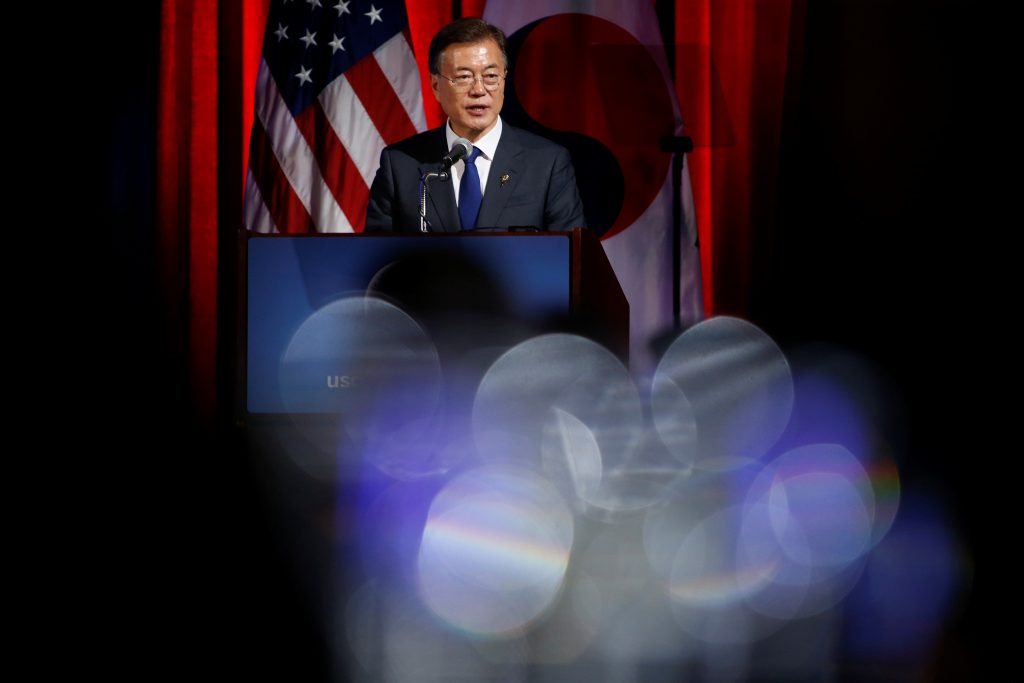 South Korean President Moon Jae-In speaks to the U.S. Chamber of Commerce  in Washington, D.C. Photo by Joshua Roberts/Reuters