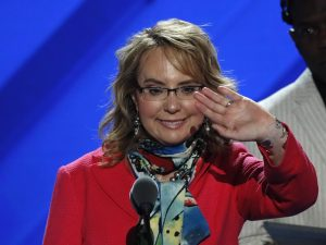 Former Arizona Representative Gabby Giffords attends her walk through at the Democratic National Convention in Philadelphia