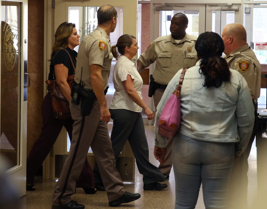 Tulsa police officer Betty Shelby arrives for her arraignment after she was charged with manslaughter in the death of Terence Crutcher, at Tulsa County Courthouse in Tulsa, Oklahoma, in September 2016. Photo by Richard Rowe/Reuters