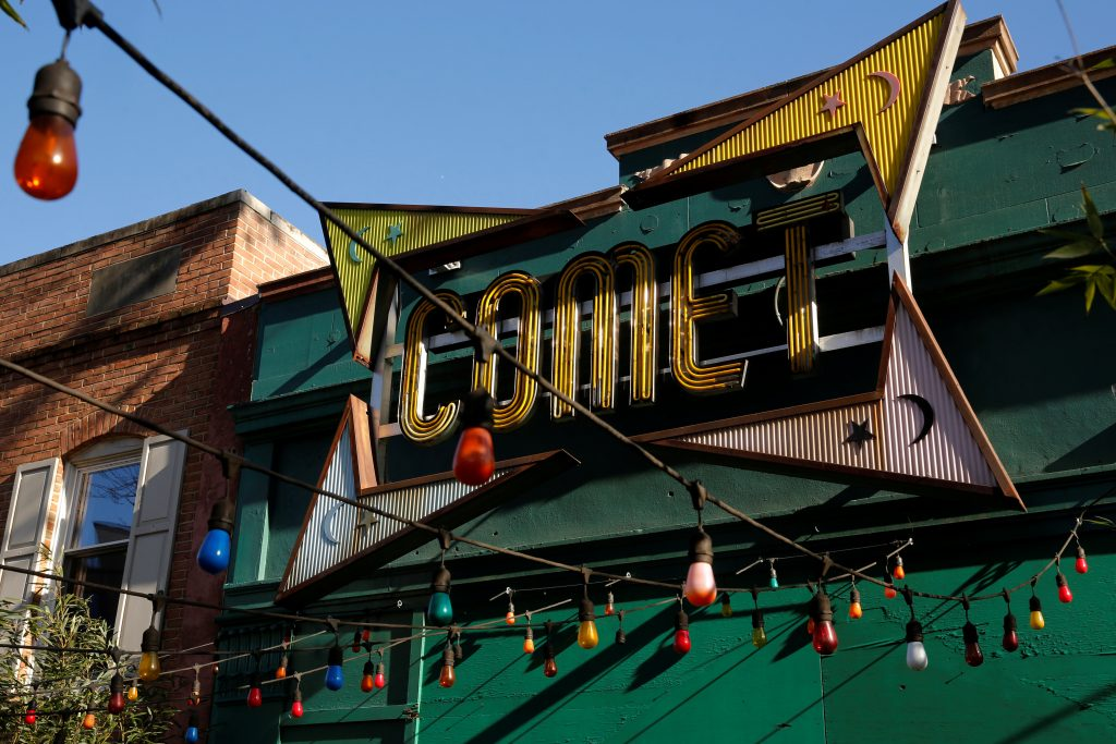 A general view of the exterior of the Comet Ping Pong pizza restaurant in Washington, D.C., where The pizzeria vowed to stay open despite a shooting incident sparked by a fake news report that it was fronting a child sex ring run by Democratic presidential candidate Hillary Clinton. Photo by Jonathan Ernst/Reuters