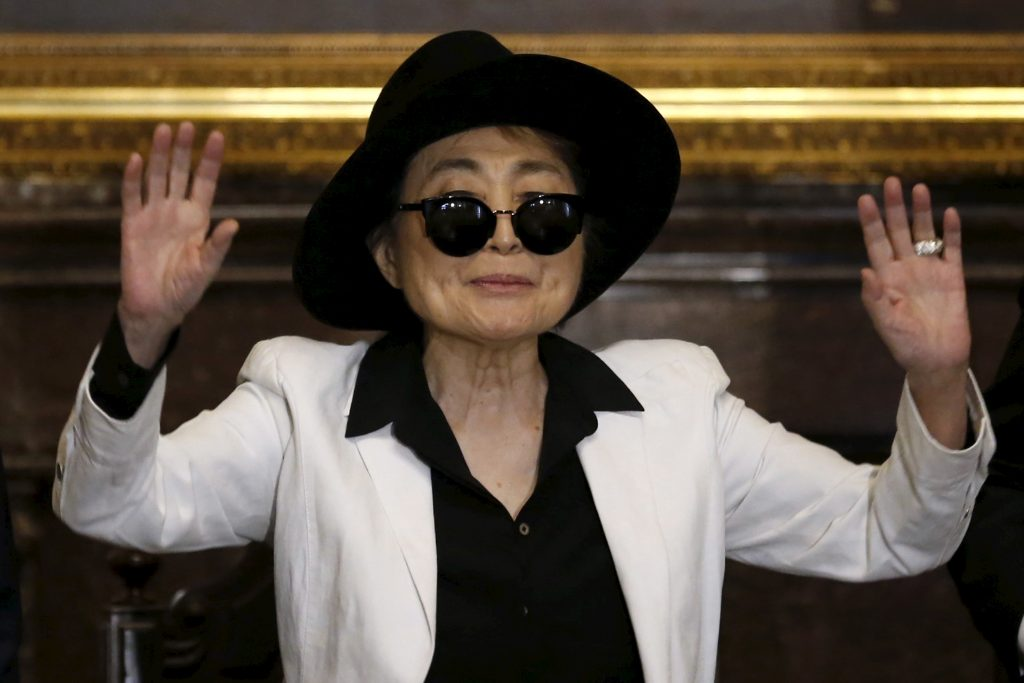 Artist Yoko Ono gestures before she was honored as 'Illustrious Visitor' by Mexico City's mayor Miguel Angel Mancera at Mexico City's town hall in 2016. Photo by Edgard Garrido/Reuters