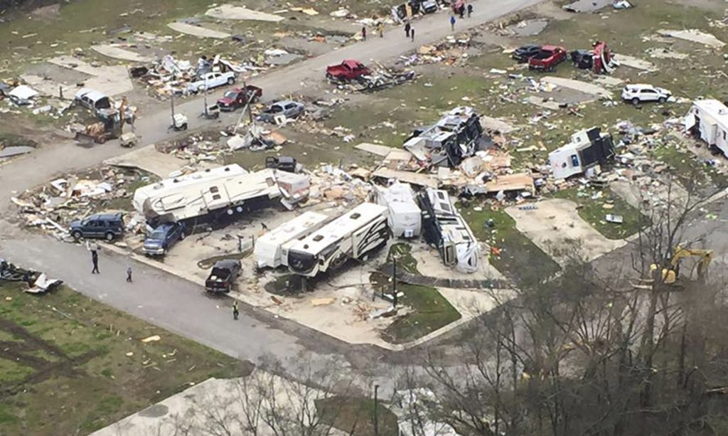 Wreckage covers the grounds of a mobile home park a day after it was hit by a tornado, in Convent, Louisiana February 24, 2016 in an aerial photo provided by the Louisiana Governor's Office of Homeland Security and Emergency Preparedness. Several tornadoes lashed southern Louisiana and Mississippi on Tuesday, killing at least three people and injuring more than 30 as the storms destroyed dozens of homes and businesses and toppled a water tower, weather and emergency officials said. Hardest hit in Louisiana was the Mississippi River hamlet of Convent, where 90 percent of the estimated 160 mobile homes at the Sugar Hill trailer park were demolished, state police superintendent Colonel Mike Edmonson told a news conference. REUTERS/Louisiana Governor's Office of Homeland Security and Emergency Preparedness/Handout via Reuters FOR EDITORIAL USE ONLY. NOT FOR SALE FOR MARKETING OR ADVERTISING CAMPAIGNS. THIS IMAGE HAS BEEN SUPPLIED BY A THIRD PARTY.THIS PICTURE WAS PROCESSED BY REUTERS TO ENHANCE QUALITY. AN UNPROCESSED VERSION HAS BEEN PROVIDED SEPARATELY - RTX28E7Y