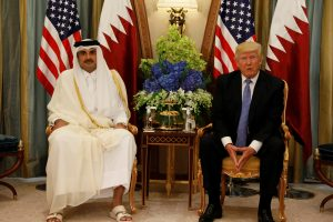 Qatar's Emir Sheikh Tamim Bin Hamad Al-Thani meets with U.S. President Donald Trump in Riyadh, Saudi Arabia, in May. Photo by Jonathan Ernst/Reuters