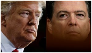 President Donald Trump (L) speaks in Ypilanti Township, Michigan, in March and FBI Director James Comey testifies in D.C. before a Senate Judiciary Committee hearing in May in a combination of file photos. Photos by Jonathan Ernst and Kevin Lamarque/Reuters