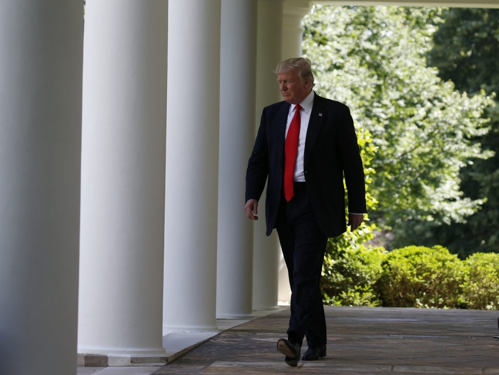 U.S. President Trump arrives to announce decision to withdraw from Paris Climate Agreement in the White House Rose Garden in Washington