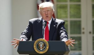 U.S. President Donald Trump announces his decision that the United States will withdraw from the Paris Climate Agreement, in the Rose Garden of the White House in Washington, U.S., June 1, 2017. Photo by Kevin Lamarque/Reuters