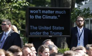 President Donald Trump's teleprompter is pictured during the president's announcement  that the United States will withdraw from the Paris Climate Agreement, in the Rose Garden of the White House in Washington, D.C. Photo by Joshua Roberts/Reuters