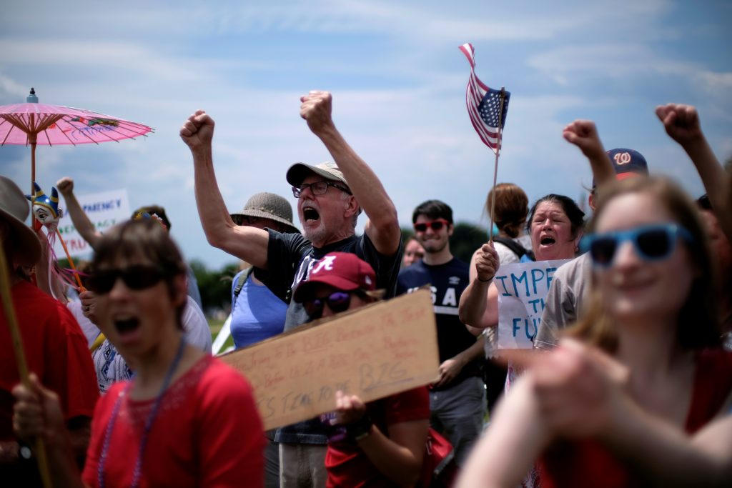 "Protesters gather on the National Mall during the ""March for Truth"" rally in Washington"